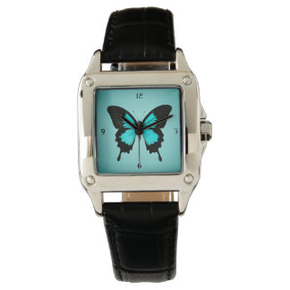 Butterfly - turquoise blue and black watch