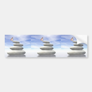 Butterfly upon balanced stones bumper sticker