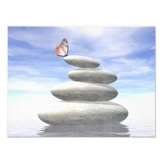 Butterfly upon balanced stones photographic print
