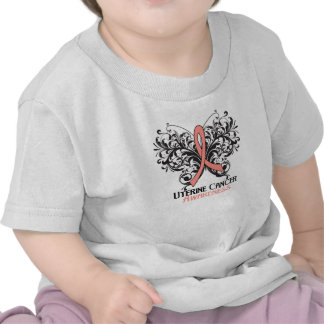 Butterfly Uterine Cancer Awareness Tee Shirts