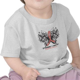 Butterfly Uterine Cancer Awareness Tee Shirts