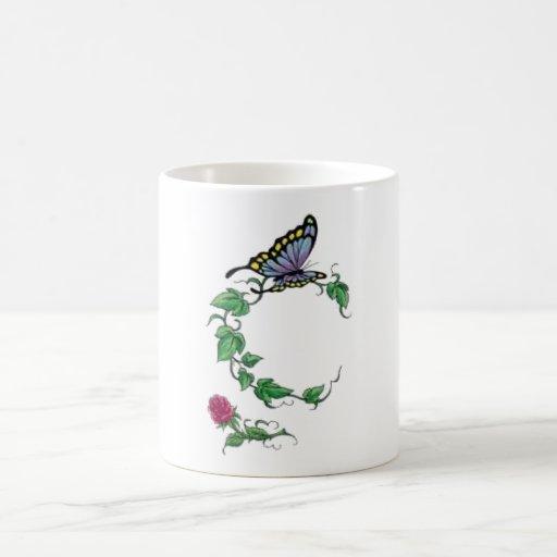 butterfly vine rose mug