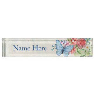 Butterfly Vintage Floral Desk Nameplate