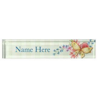 Butterfly Vintage Floral Nameplate