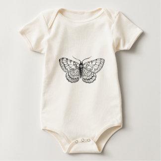 butterfly vintage illustration baby bodysuit