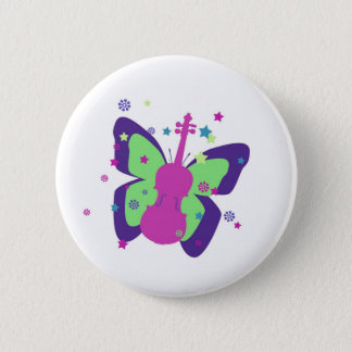 Butterfly Violin 6 Cm Round Badge