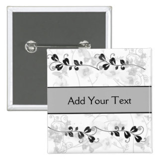 Butterfly Visions in Black and Grey 15 Cm Square Badge