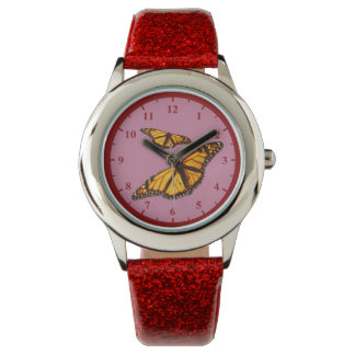Butterfly Watch Red Glitter Strap And Red Numbers