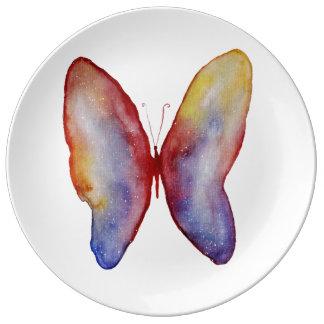 Butterfly Watercolor Art Porcelain Plate