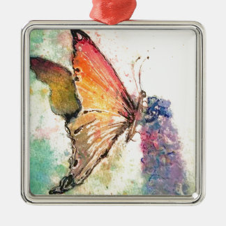 butterfly watercolor with purple flower Silver-Colored square decoration