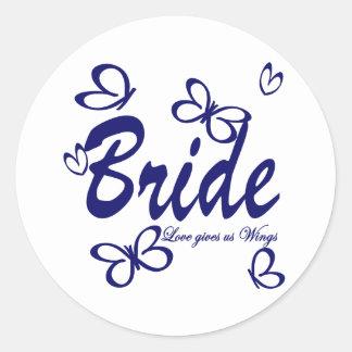 Butterfly Wedding/ Bride Round Sticker