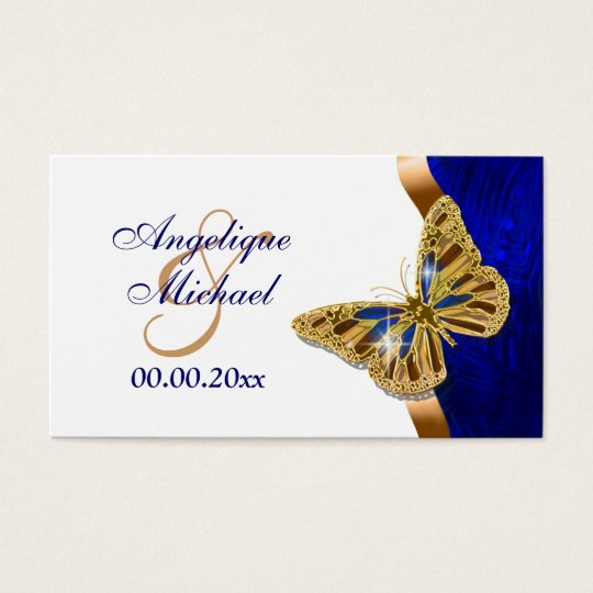 Butterfly wedding brown blue gold business card