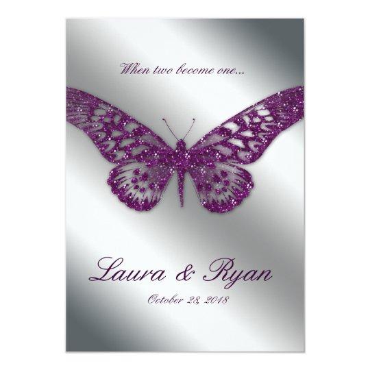 Butterfly Wedding Invite Sparkle Purple Silver