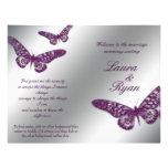Butterfly Wedding Program Flyer Silver Purple Spar