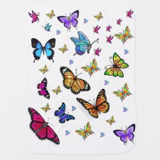 Butterfly white baby fleece blanket