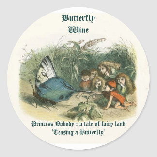 Butterfly Wine Labels Round Sticker