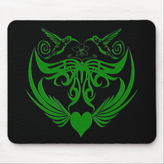 Butterfly Wings Hummingbird Flower green Mouse Pad