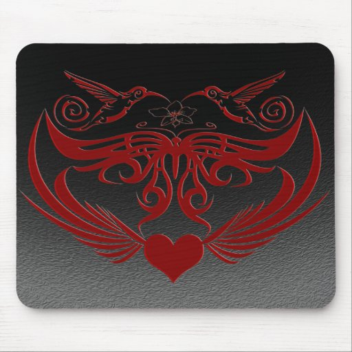 Butterfly Wings Hummingbird Flower red Mouse Pad