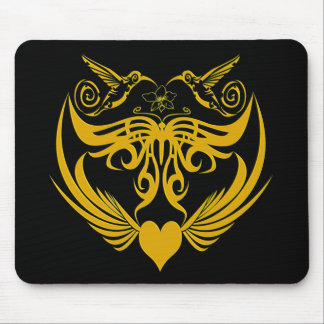 Butterfly Wings Hummingbird Flower yellow Mouse Pad
