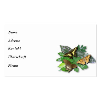 Butterfly with asterisk, rain drop, sheets pack of standard business cards
