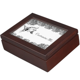 Butterfly with Flower (Henna) (Black) Keepsake Boxes