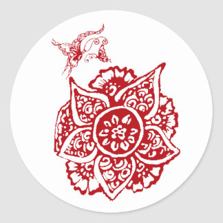 Butterfly with Flower(Henna)(Red) Classic Round Sticker
