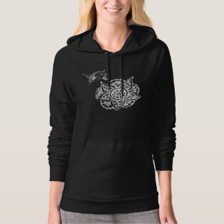 Butterfly with Flower(Henna)(White) Hoody