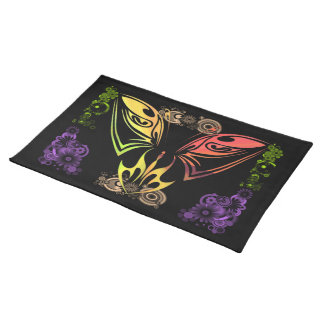 """Butterfly with Flowers 20"""" x 14"""" American MoJo Pla Placemat"""