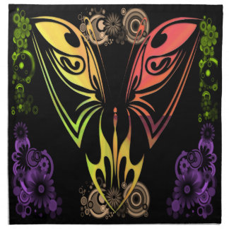 Butterfly with Flowers Cloth Dinner American MoJo  Cloth Napkins