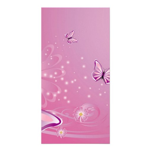 Butterfly with flowers photo card template