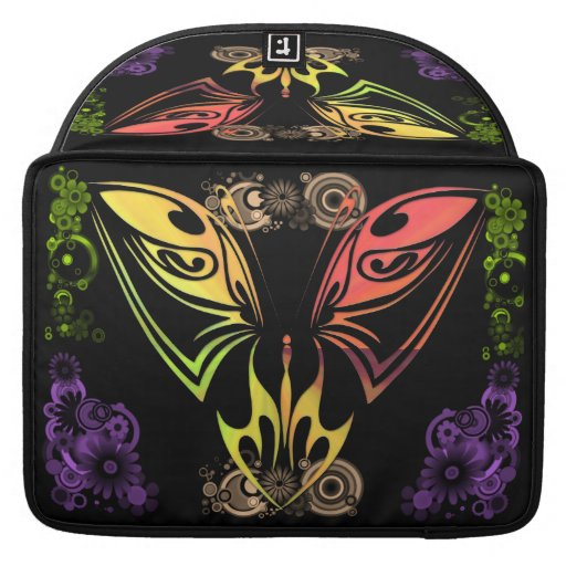 Butterfly with Flowers Rickshaw Flap Sleeve Sleeves For MacBook Pro