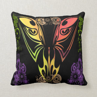 Butterfly with Flowers Throw Pillow American MoJo Cushions