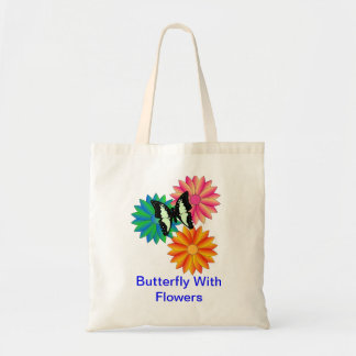 Butterfly With Flowers Budget Tote Bag