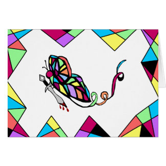 Butterfly with Knife stain glass blank note card