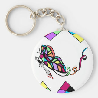 Butterfly with Knife stain glass key chain