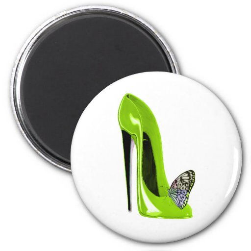 Butterfly with Lime Green Stiletto Shoe Art Design Refrigerator Magnet