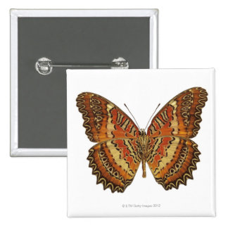 Butterfly with wings spread 15 cm square badge