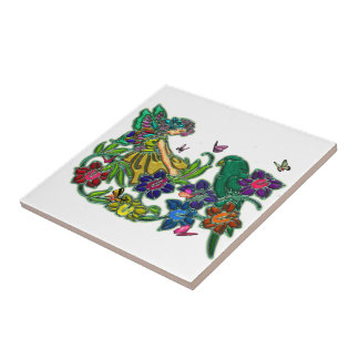 Butterfly Woman Floral & Bird Small Square Tile