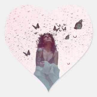 Butterfly Woman Heart Sticker