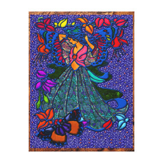 Butterfly Woman in Paisley Dress Gallery Wrap Canvas