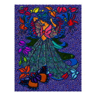 Butterfly Woman in Paisley Dress Poster