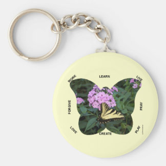 Butterfly Words to Live By Basic Round Button Key Ring