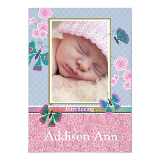 Butterfly World Photo Birth Announcement