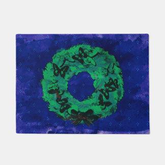 """""""Butterfly Wreath"""" Christmas Door Mat (BlueCobalt)"""