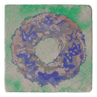"""Butterfly Wreath"" Christmas Stone Trivet (BluGrn)"