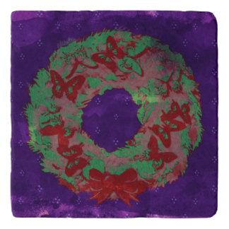 """Butterfly Wreath"" Christmas Stone Trivet (RGP)"