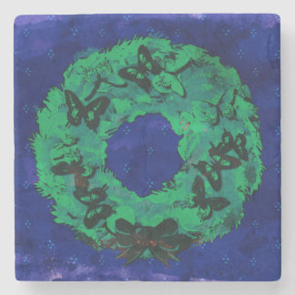 """""""Butterfly Wreath"""" Drinking Coaster (GreenCobalt)"""