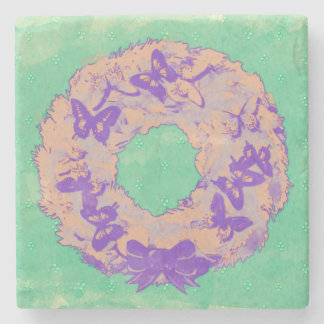 """Butterfly Wreath"" Drinking Coaster (PplGreen)"