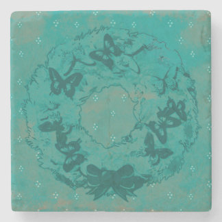 """""""Butterfly Wreath"""" Drinking Coaster (Teal)"""