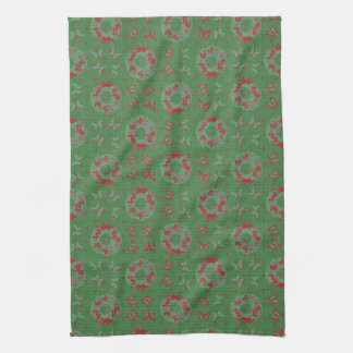 """Butterfly Wreath"" Holiday Kitchen Towel (PatGrn)"
